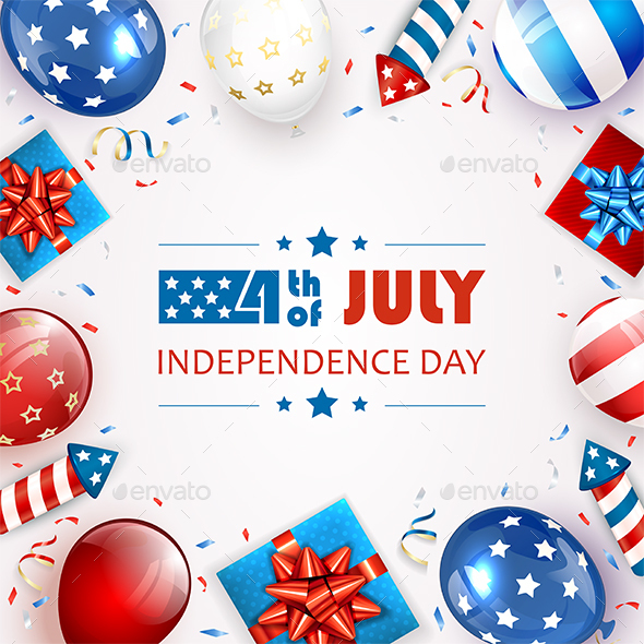 Balloons and Text Independence Day White Background