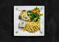 Healthy food. Boneless stuffed chicken leg. Top view on chalkk board - PhotoDune Item for Sale