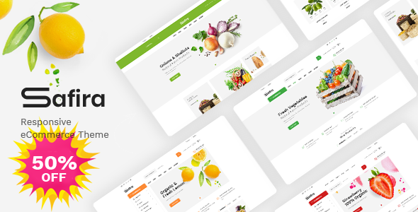 Safira – Food & Organic WooCommerce WordPress Theme Preview