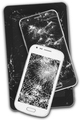 Smartphones and tablet with damaged screens isolated on white. Devices - PhotoDune Item for Sale