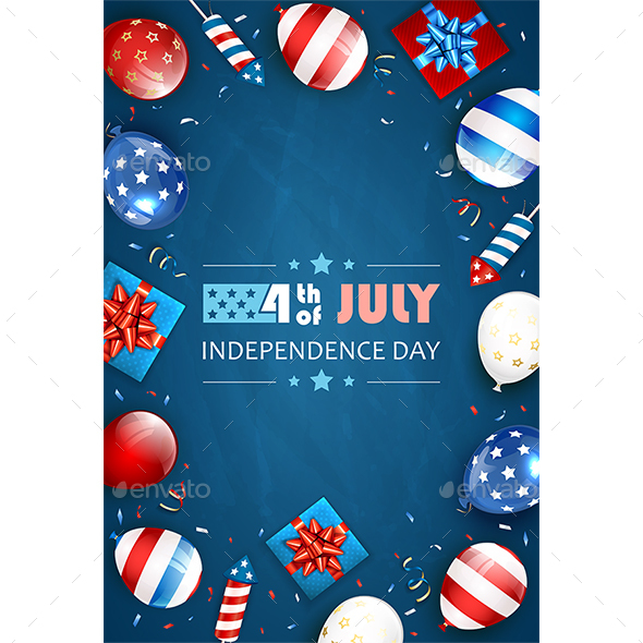 Blue Background with Balloons and Lettering  Independence Day