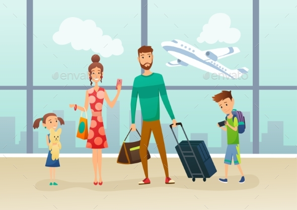 Family at Airport Terminal with Luggage