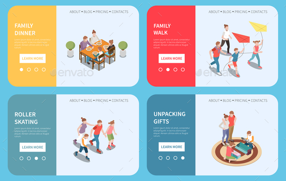Family Leisure Playing Isometric People Banner Set