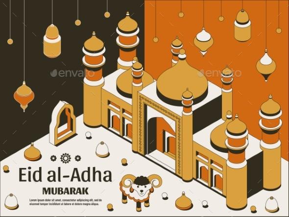 Eid Al Adha Background Isometric. Islamic Arabic