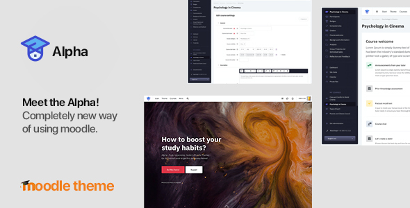 Alpha 1.3.4 - Responsive Premium LMS Theme for Moodle 3.6, 3.7, 3.8, 3.9 and later