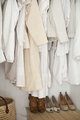 A closet with clothes,jackets,shirts and tunics hanging up and shoes arranged neatly on the floor. - PhotoDune Item for Sale