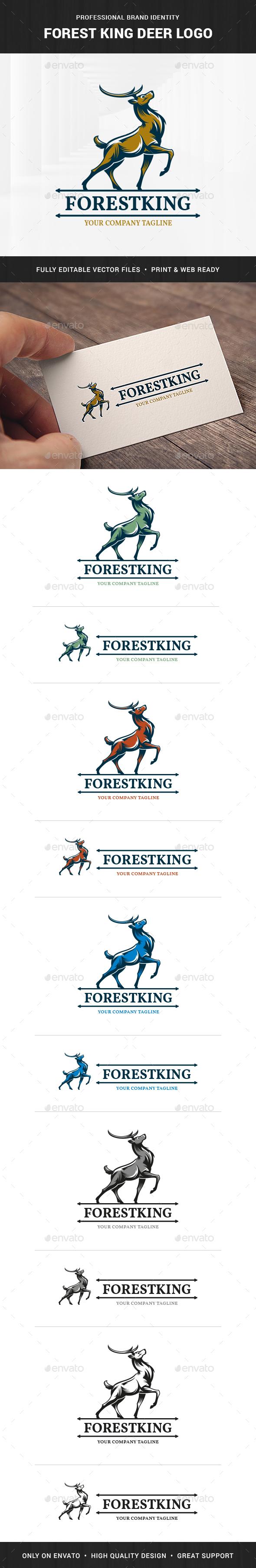 Forest King Deer Logo Template