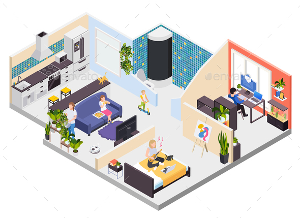 Staying Home Isometric Interior
