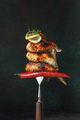 Grilled chicken wings on fork - PhotoDune Item for Sale