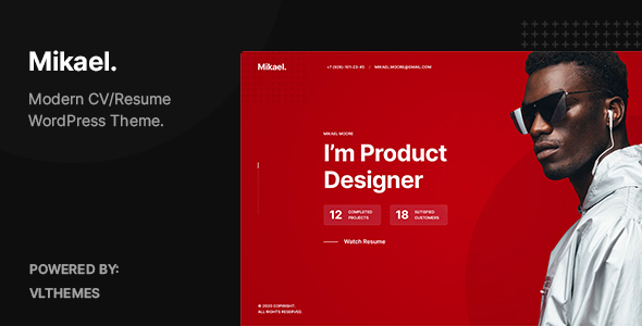 Mikael – Modern & Creative CV/Resume WordPress Theme Preview