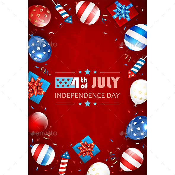 Red Background with Balloons and Lettering Independence Day