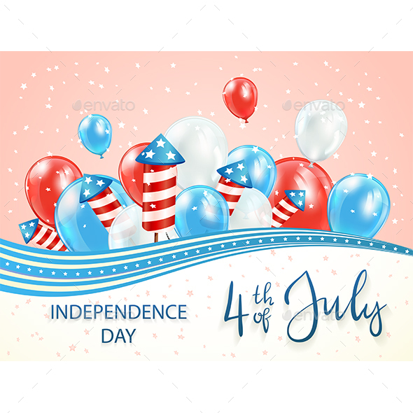 Independence Day Theme with Balloons and Firework Rockets