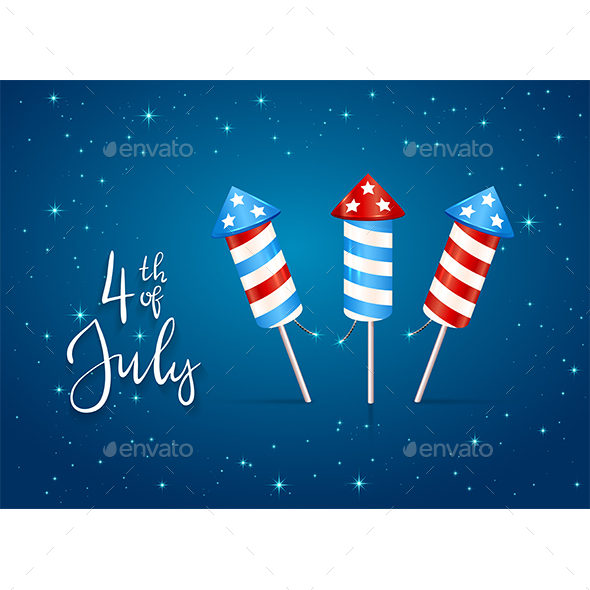 Set of Fireworks and Text 4th of July on Blue Background
