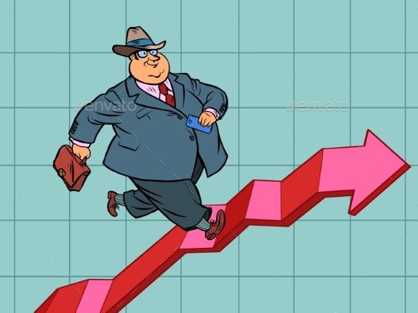 Chart Indicators Up Successful Businessman