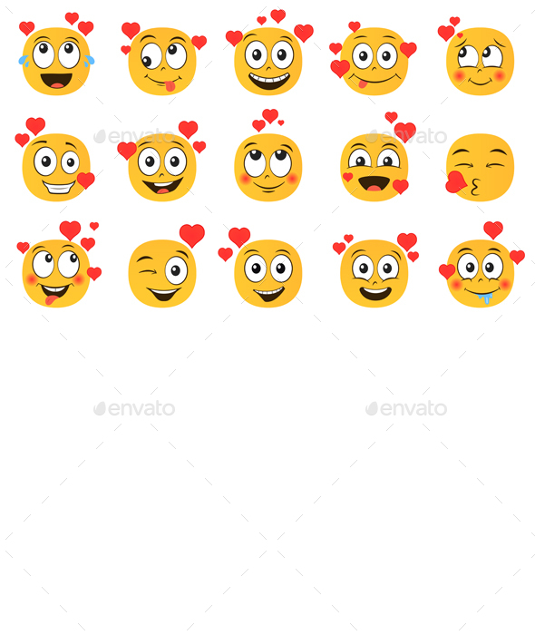 Emoticons in Love Set