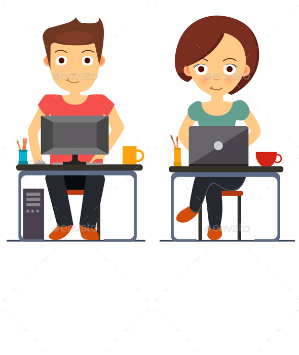 Business Man and Woman Working at The Computer and Laptop