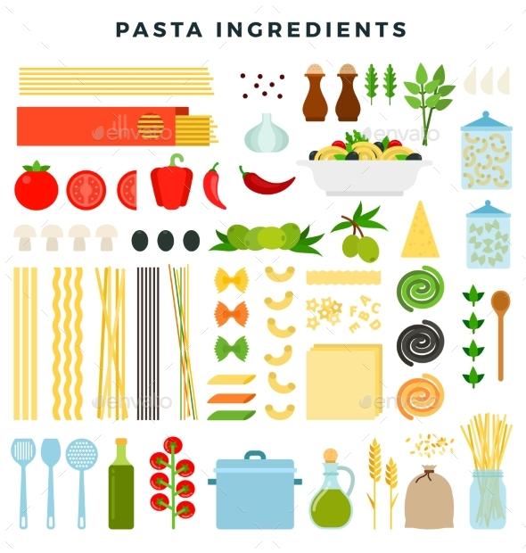 Set of Ingredients for Making Pasta