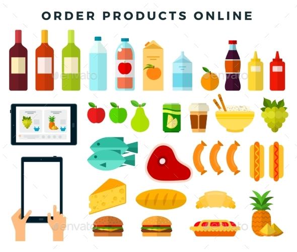Ordering Food Via Mobile App Online Shopping