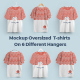 2 Mockups Oversized T-shirts On 6 Different Hangers - GraphicRiver Item for Sale
