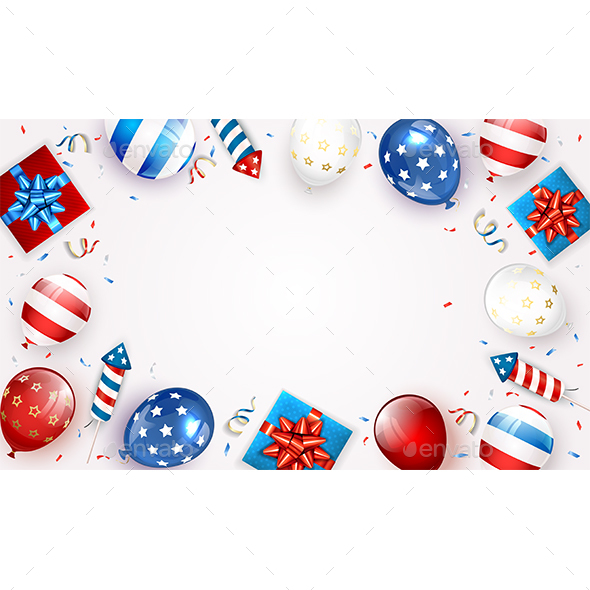 White Background with Balloons and Independence Day Fireworks
