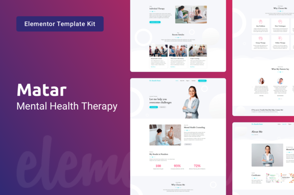Matar — Mental Health Therapy Elementor Template Kit