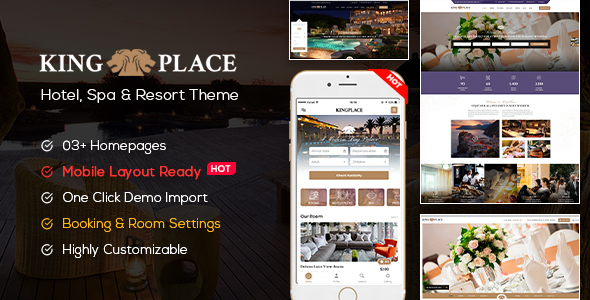 KingPlace Hotel Booking, Spa & Resort (Mobile Layout Ready)