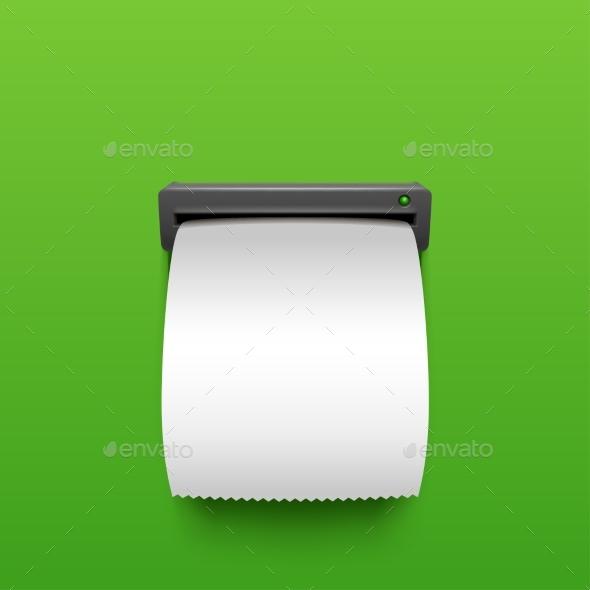 ATM Bill Blank on Green Background