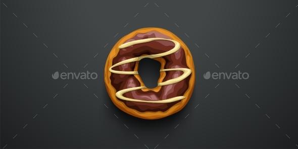 Chocolate Donut on Dark Background Top View