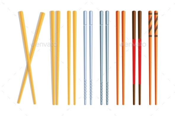 Chopsticks Set on White