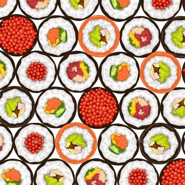 Sushi Rolls Top View
