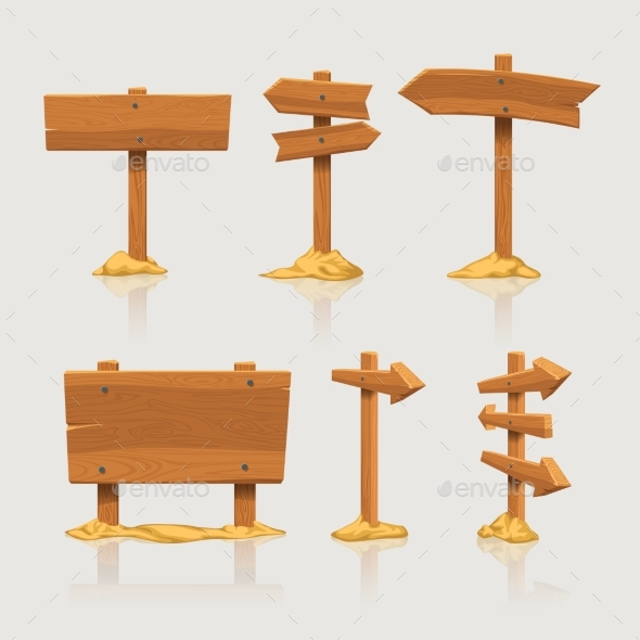 Wooden Directional Signs Set with Sand