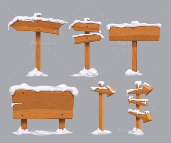 Wooden Directional Signs Set with Snow