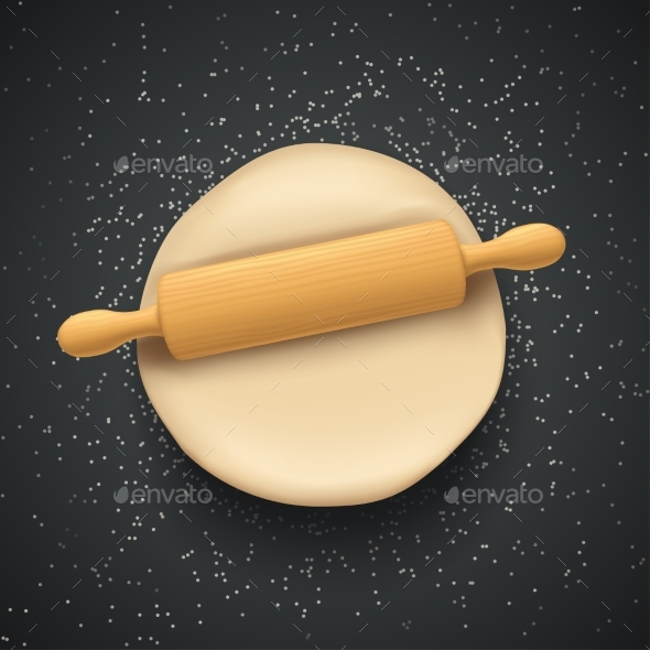 Dough and Rolling Pin on Dark