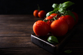 Branch of ripe natural tomatoes and basil leaves - PhotoDune Item for Sale