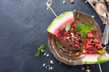 Watermelon slice popsicles with chocolate - PhotoDune Item for Sale