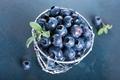 Freshly picked blueberries in metallic cup - PhotoDune Item for Sale