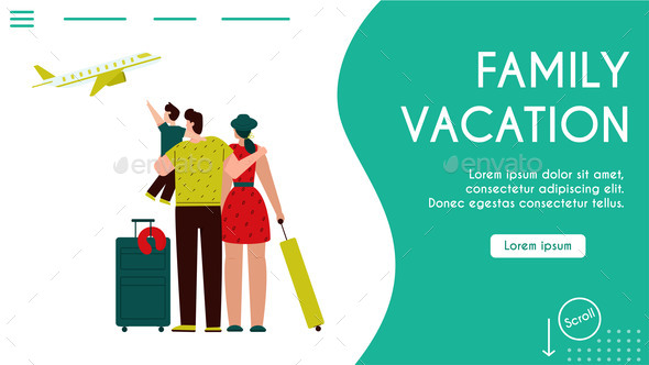 Vector Banner Illustration of Family Vacation
