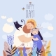 Happy Couple Staying in a Field of Flowers - GraphicRiver Item for Sale