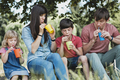 Young family relaxing outdoors drinking juice - PhotoDune Item for Sale