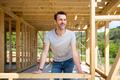 Proud owner of house under construction visit building site, dreams come true - PhotoDune Item for Sale