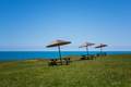 Picnic bench on a green field near the beach - PhotoDune Item for Sale