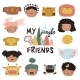 Kids Faces and Jungle Animals on White - GraphicRiver Item for Sale