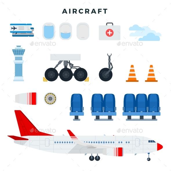 Aircraft and Its Components Set of Aircraft Parts