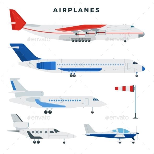Passenger and Cargo Airplane Set