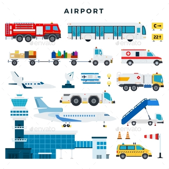 Airport, Set of Icons