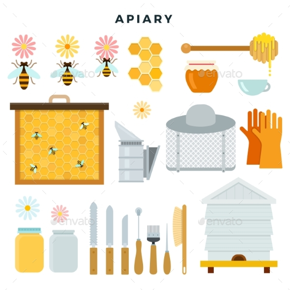 Apiary Tools and Equipment, Set of Icons