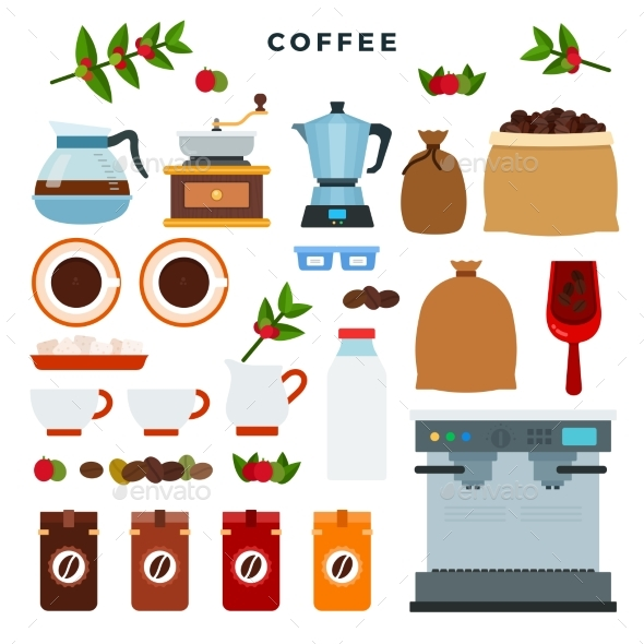 Collection of Vector Icons on Coffee Theme