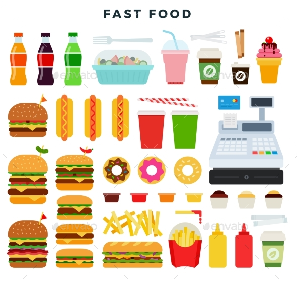Colorful Set of Fast Food Products