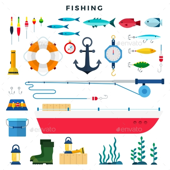 Everything for Fishing, Set of Elements Isolated