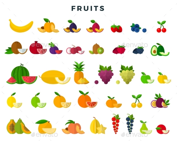 Set of Fruits and Berries, Whole and Slices